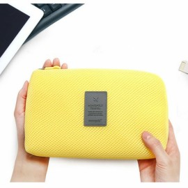Travel Shockproof Protective Storage Pouch Bag for Cable Charger Hard Disk Yellow L