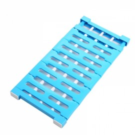 Multifunctional Telescopic Layered Rack Stainless Steel Storage Rack Wardrobe Holder Blue L