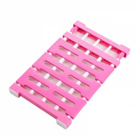 Multifunctional Telescopic Layered Rack Stainless Steel Storage Rack Wardrobe Holder Rose Red M