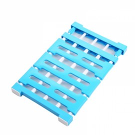 Multifunctional Telescopic Layered Rack Stainless Steel Storage Rack Wardrobe Holder Blue M