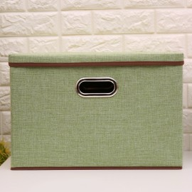 Foldable Simple Cotton and linen Storage Box Clothing Storage  Green
