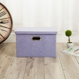 Foldable Simple Cotton and linen Storage Box Clothing Storage Home Storage Purple
