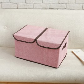 Collapsible Storage Box Organize Clothes Basket with Cover Lids Pink