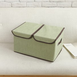 Collapsible Storage Box Organize Clothes Basket with Cover Lids Green