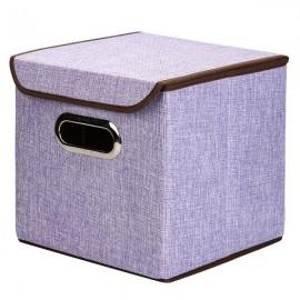 Multifunction Foldable Storage Box Cube Basket Bin with Lid Purple