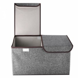 Collapsible Storage Box Organize Clothes Basket with Cover Lids Gray