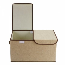 Collapsible Storage Box Organize Clothes Basket with Cover Lids Khaki