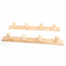 Wall Wooden Hook 4 Hooks Coat Hook Key Rack Holder Wood Color