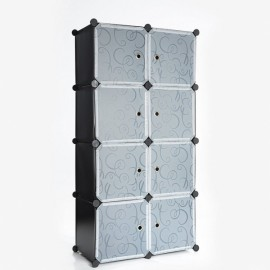 Folding Simple Wardrobe-8 Cube with Full Grid Black & Transparent White