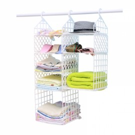 DIY Hanging Closet Organizer Plastic Folding Storage Shelving with Hook Clothes Shelf Rack Holder - 1 Small 1 Big Layers