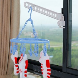Foldable Space Saver Window Clothes Hanger Rack White