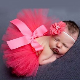 Infant Tutu Design Costume Outfit Newborn Baby Bubble Skirt Photography Props Red