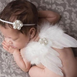 Newborn Photography Costume Props Baby Angel Feather Wings Set with Pearl + Elastic Headband Set White