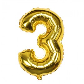 "32"" Number Figure Foil Balloons Digit Air Ballons Birthday Party Wedding Decoration 3 Golden"