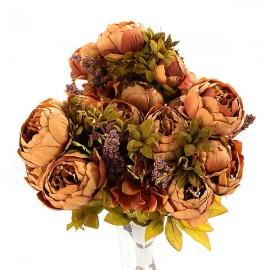 Artificial Flowers European Fall Vivid Peony Fake Leaf Wedding Home Party Decoration Coffee Peony