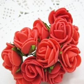 12pcs/lot Simulation Mini Rose Artificial Foam Flower Ball Garland Headdress Wedding Decoration Bridal Flowers Red