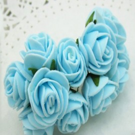 12pcs/lot Simulation Mini Rose Artificial Foam Flower Ball Garland Headdress Wedding Decoration Bridal Flowers Sky Blue