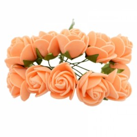 12pcs/lot Simulation Mini Rose Artificial Foam Flower Ball Garland Headdress Wedding Decoration Bridal Flowers Orange