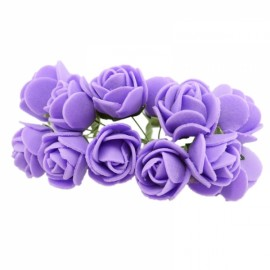 12pcs/lot Simulation Mini Rose Artificial Foam Flower Ball Garland Headdress Wedding Decoration Bridal Flowers Purple