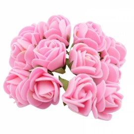 12pcs/lot Simulation Mini Rose Artificial Foam Flower Ball Garland Headdress Wedding Decoration Bridal Flowers Pink