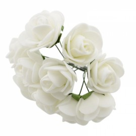 12pcs/lot Simulation Mini Rose Artificial Foam Flower Ball Garland Headdress Wedding Decoration Bridal Flowers White