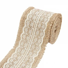 1m Natural Jute Burlap Lace Trim Ribbon DIY Sewing Craft Wedding Christmas Gift Decoration White