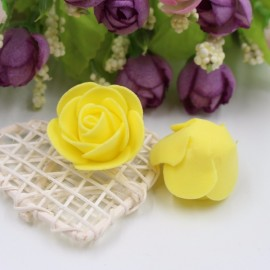 50pcs Artificial Rose PE Foam Flowers Design Wedding Party Home Decoration Yellow