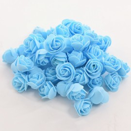 50pcs Artificial Rose PE Foam Flowers Design Wedding Party Home Decoration Blue
