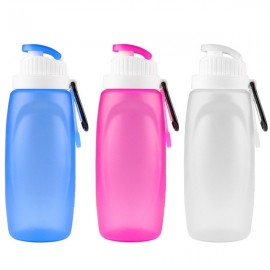 320mL Foldable Silicone Water Bottle Kettle for Travel Outdoor Sports Camping Hiking Walking Running White