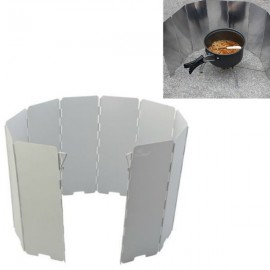 9 Plates Camping Foldable Aluminum Plates BBQ Stove Wind Shield Silver