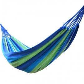 280 x 80cm 120kg Weight Load Canvas Hammock Casual Stripe Beach Swing Single Bed for Outdoor Camping Travel Blue
