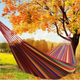 280 x 150cm 200kg Weight Load Canvas Hammock Casual Stripe Beach Swing Double Bed for Outdoor Camping Red