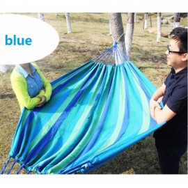 280 x 150cm 200kg Weight Load Canvas Hammock Casual Stripe Beach Swing Double Bed for Outdoor Camping Travel Blue