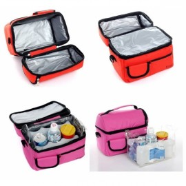 Dual-layer Thickened Insulated Cooler Bag Ice Bag Lunch Picnic Bag Pink