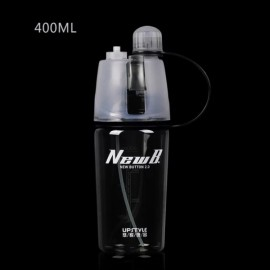 400mL Creative Portable Button Water Cup Mist Spray Atomizing Water Bottle for Outdoors Black