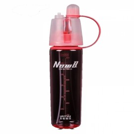 600mL Creative Portable Button Water Cup Mist Spray Atomizing Water Bottle for Outdoors Red