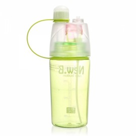 400mL Creative Portable Button Water Cup Mist Spray Atomizing Water Bottle for Outdoors Green