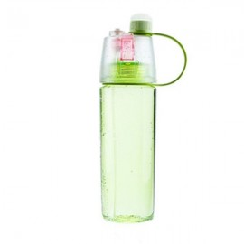 600mL Creative Portable Button Water Cup Mist Spray Atomizing Water Bottle for Outdoors Green