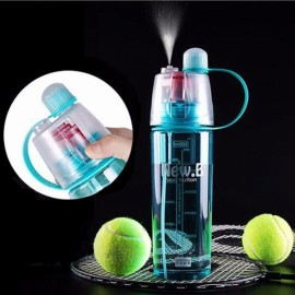 400mL Creative Portable Button Water Cup Mist Spray Atomizing Water Bottle for Outdoors Blue