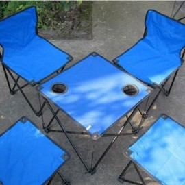 5-in-1 Leisure Outdoor Portable Canvas Folding Table and Chair Set Blue