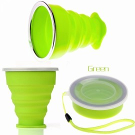 New Vogue Outdoor Travel Silicone Retractable Folding Cup Telescopic Collapsible Drinking Cup with Lid 240mL Green