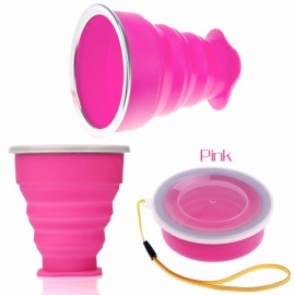 New Vogue Outdoor Travel Silicone Retractable Folding Cup Telescopic Collapsible Drinking Cup with Lid 240mL Pink