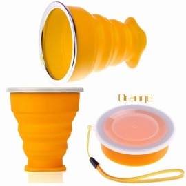 New Vogue Outdoor Travel Silicone Retractable Folding Cup Telescopic Collapsible Drinking Cup with Lid 240mL Orange