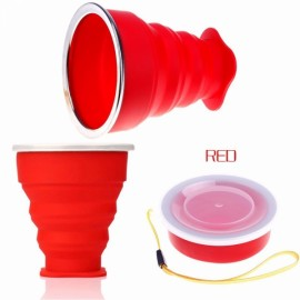 New Vogue Outdoor Travel Silicone Retractable Folding Cup Telescopic Collapsible Drinking Cup with Lid 240mL Red