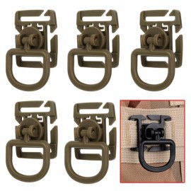 5pcs Outdoor 360 Degrees Rotation POM Tactical D-Ring Buckles for MOLLE Locking Carabiner Backpack Khaki