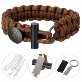 FURA 3-in-1 Outdoor Military-Spec 550 9-Cord Parachute Rope Bracelet with Knife & Fire Starter & Metal Button Coyote Brown