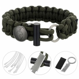 FURA 3-in-1 Outdoor Military-Spec 550 9-Cord Parachute Rope Bracelet with Knife & Fire Starter & Metal Button Army Green