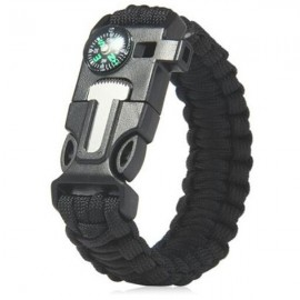 5-in-1 Outdoor Survival Parachute Cord Bracelet Flint / Whistle / Compass / Scraper Black