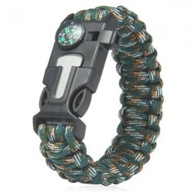 5-in-1 Outdoor Survival Parachute Cord Bracelet Flint / Whistle / Compass / Scraper Jungle Camouflage