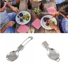 Foldable Stainless Steel Spork Spoon Fork Portable Cookout Picnic Spork Silver